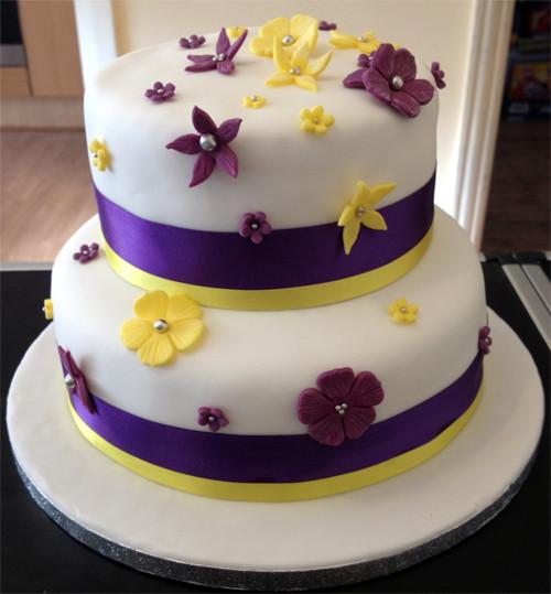 Purple And Yellow Wedding Cake  Purple & Yellow Wedding Cake