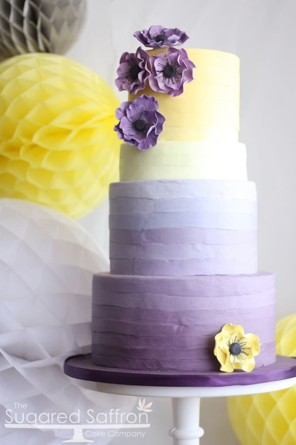 Purple And Yellow Wedding Cake  40 Anemone Wedding Ideas Bouquets Cakes and Invitations
