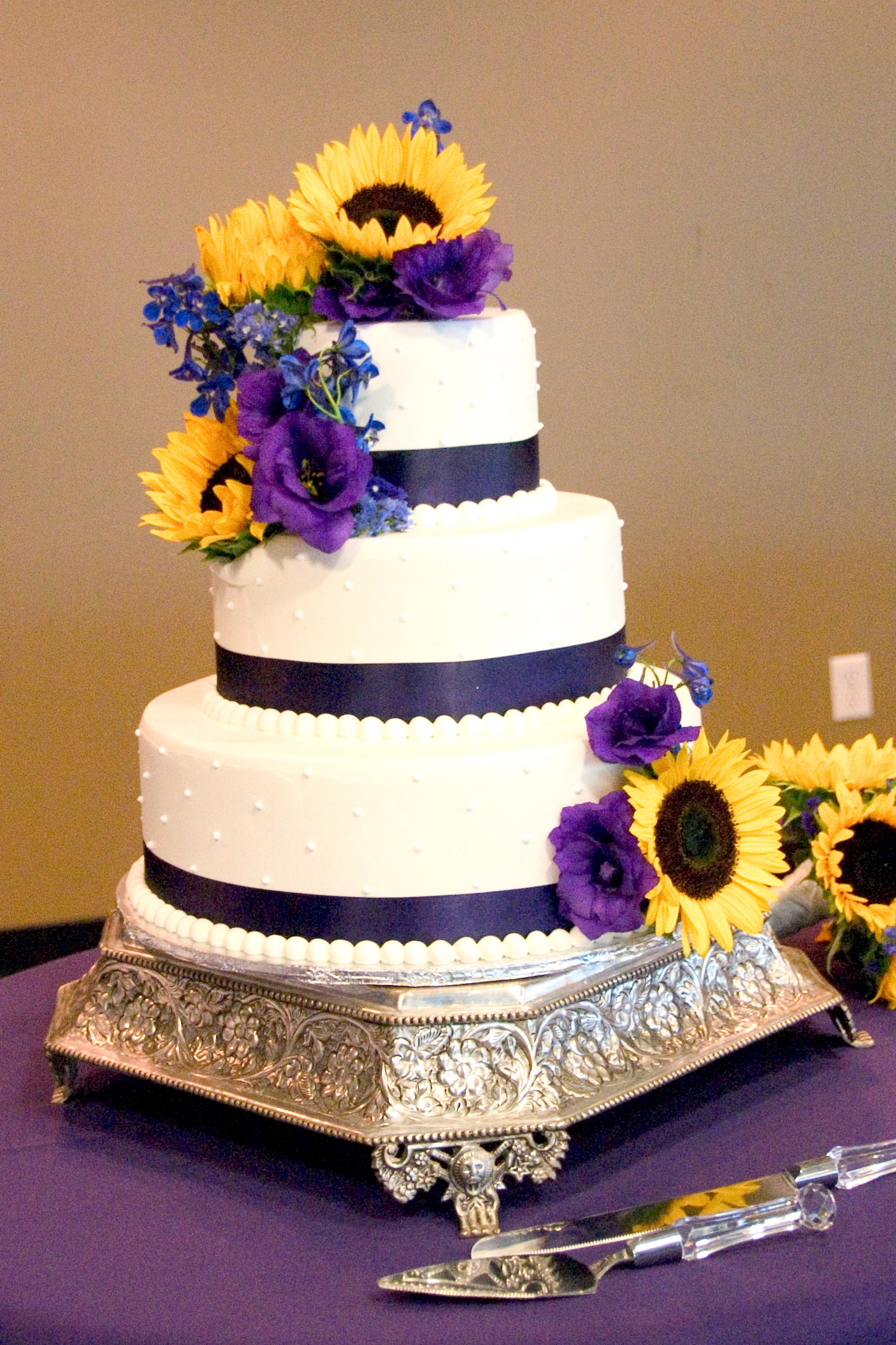 Purple And Yellow Wedding Cake  Summer Sunflower Wedding