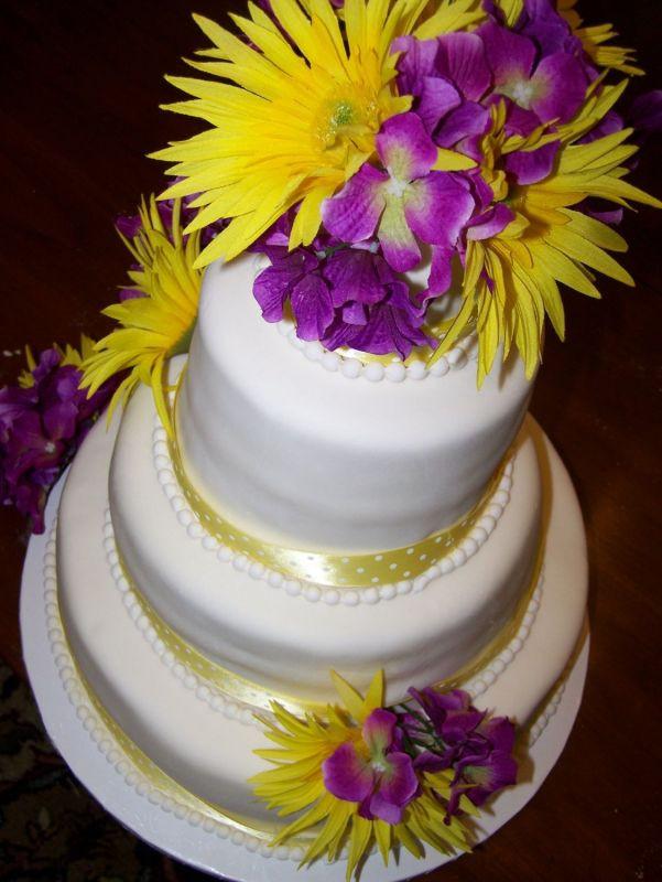 Purple And Yellow Wedding Cake  White Wedding Cakes with Yellow and Purple touch Wedding