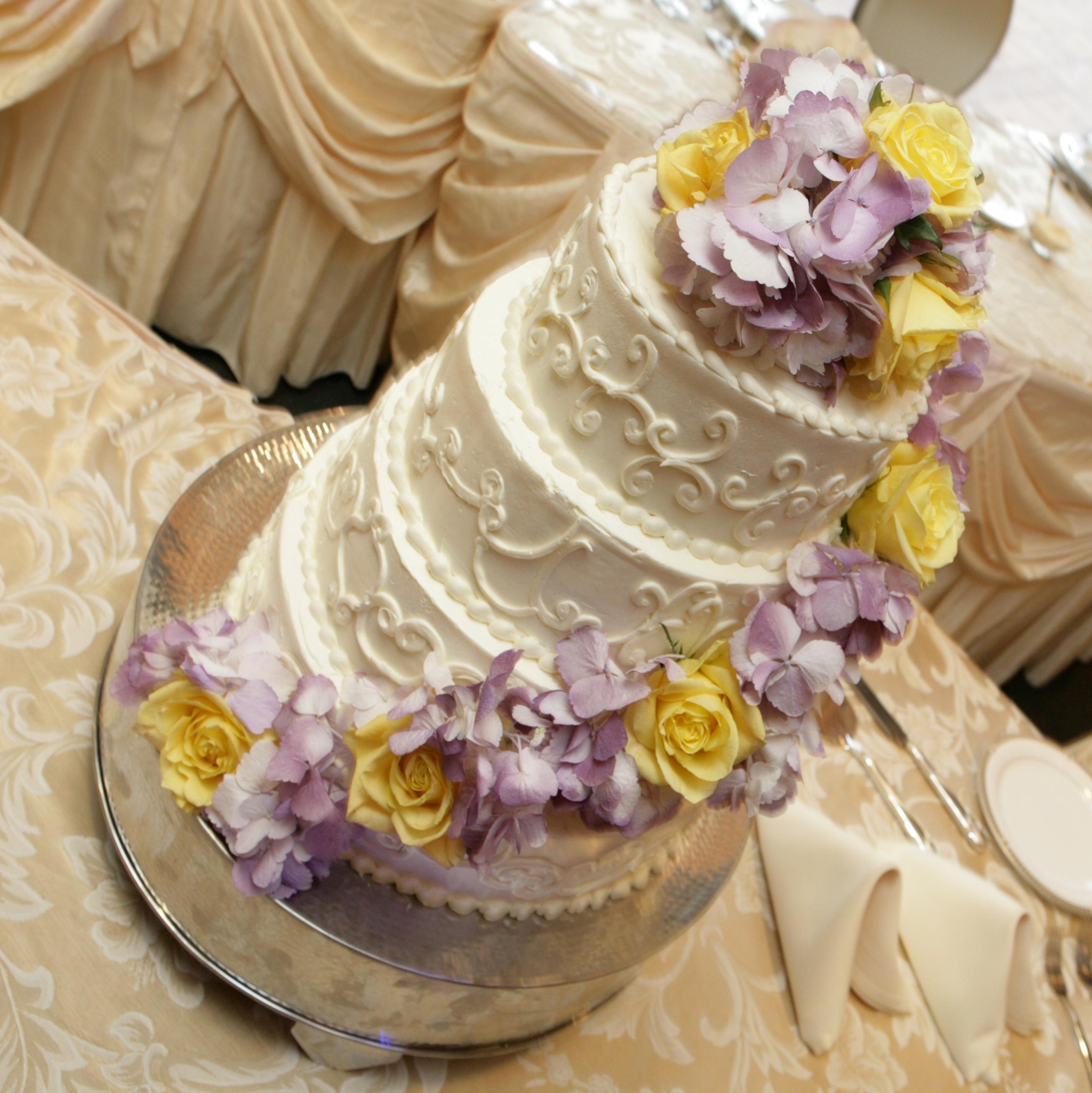 Purple And Yellow Wedding Cake  Cascade of Flowersvendors Monday Morning Flowers Project