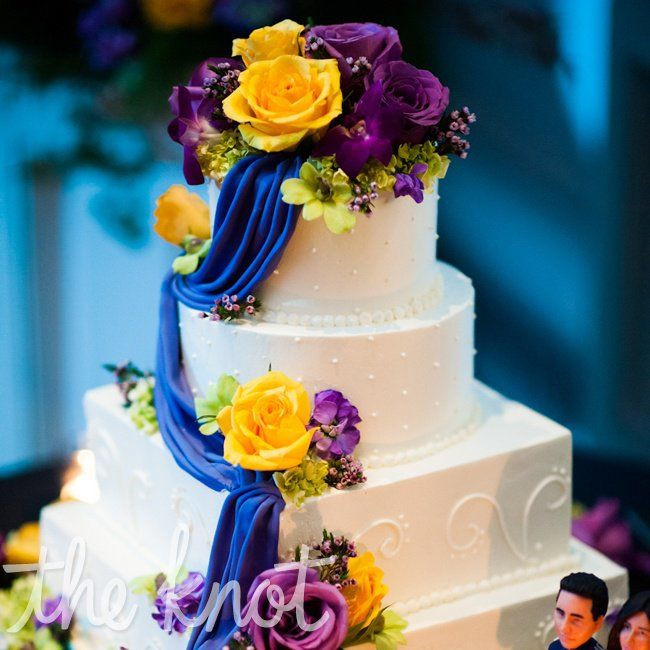 Purple And Yellow Wedding Cake  Purple and Yellow Wedding Cake