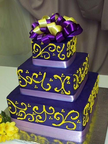 Purple And Yellow Wedding Cake  Purple Wedding Cakes Best of Cake