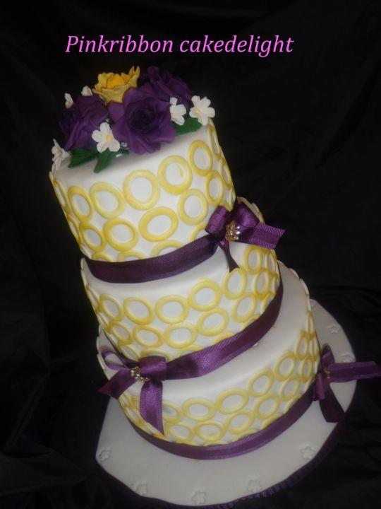 Purple And Yellow Wedding Cake  purple and yellow themed cake Cake by Marystella
