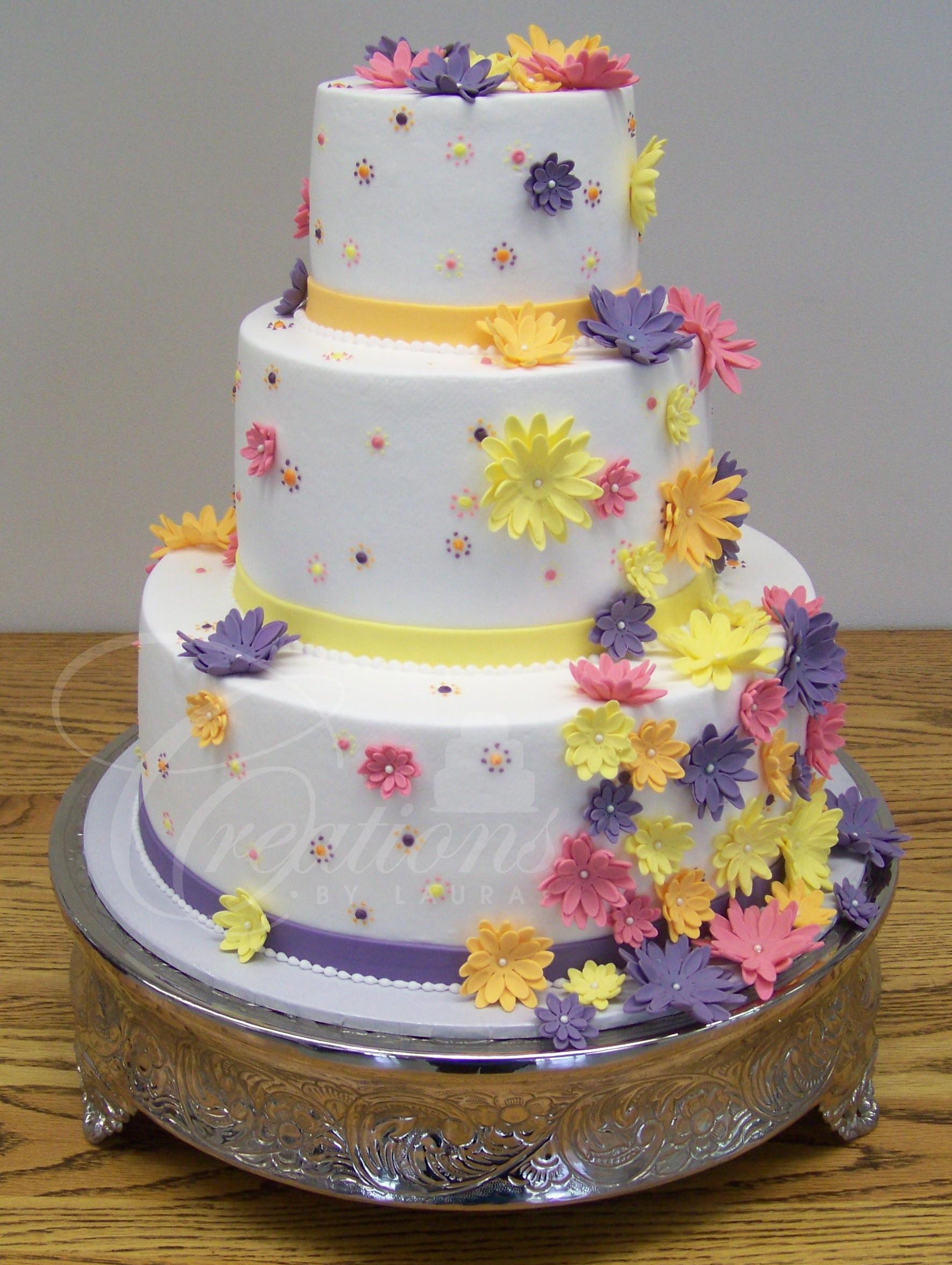 Purple And Yellow Wedding Cake  2012 Wedding Cakes