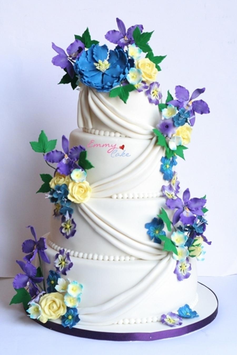 Purple And Yellow Wedding Cake  Blue yellow purple And White Wedding Cake CakeCentral