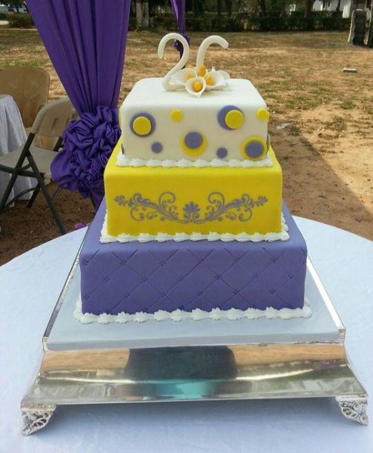 Purple And Yellow Wedding Cakes  Purple and yellow wedding cake Cake by SerwaPona