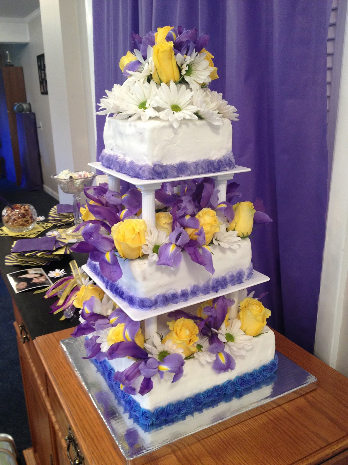 Purple And Yellow Wedding Cakes  A Mermaid s Tail Purple and Yellow Wedding Cake