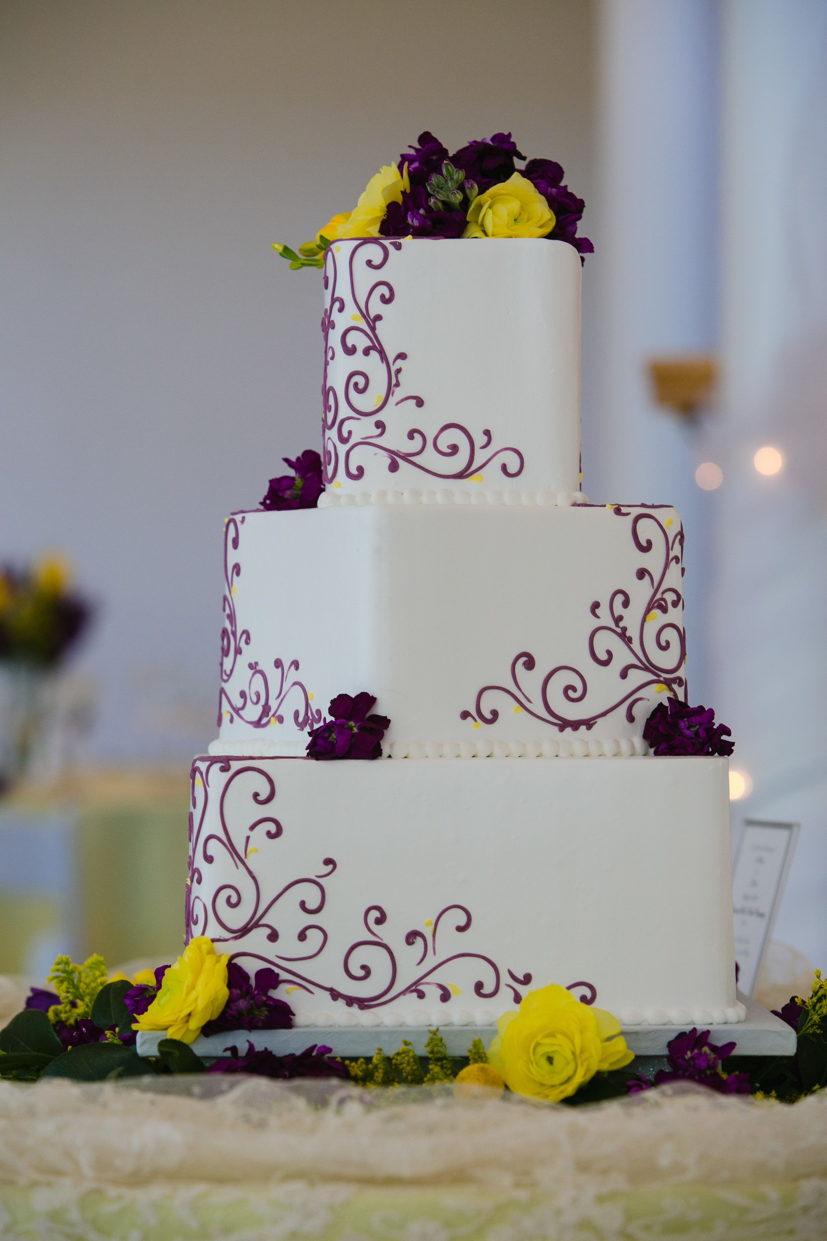 Purple And Yellow Wedding Cakes  Purple and Yellow Wedding Cake