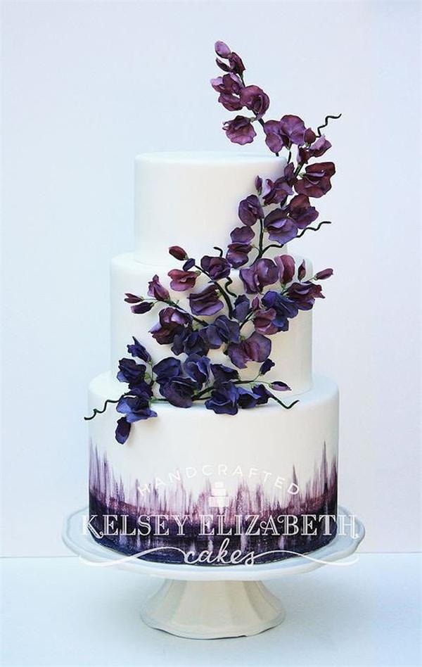 Purple Wedding Cakes Ideas  35 Dark Purple Wedding Color Ideas for Fall Winter