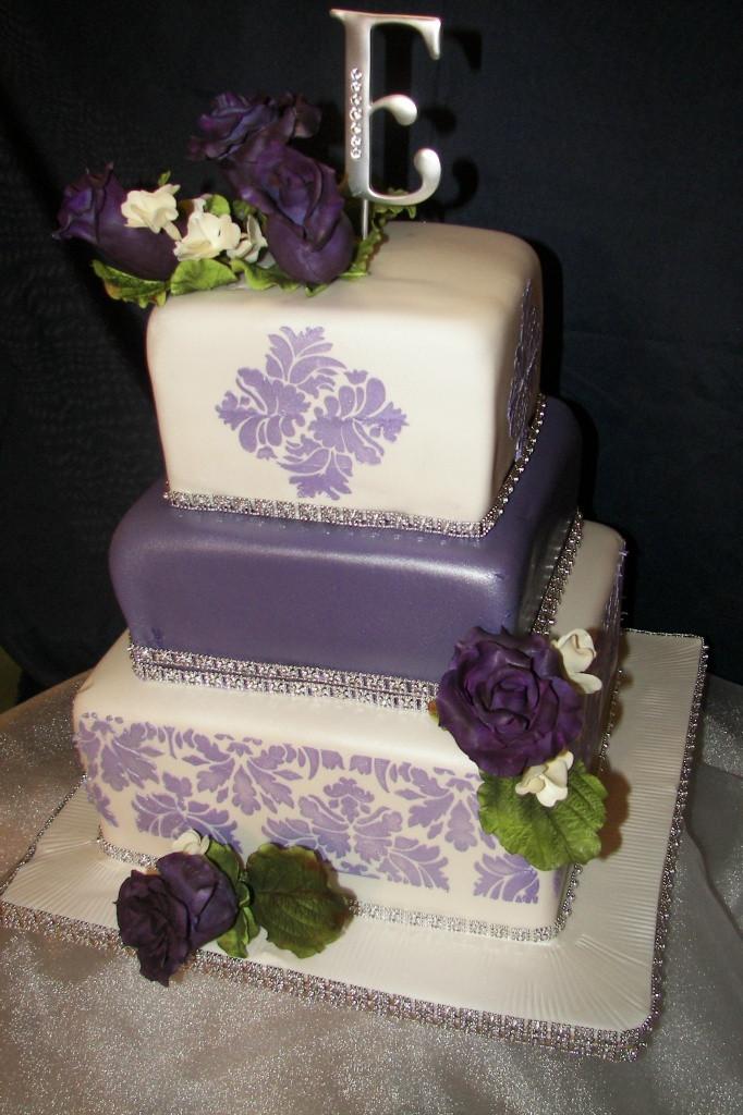 Purple Wedding Cakes Pictures  Wedding Cakes Purple Damask Cakes