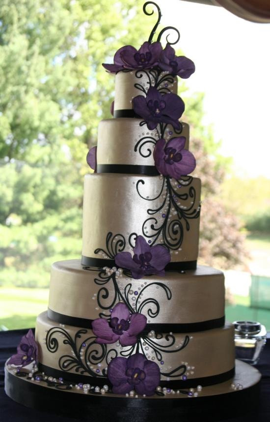 Purple Wedding Cakes Pictures  Purple and Silver Wedding Cakes Wedding and Bridal