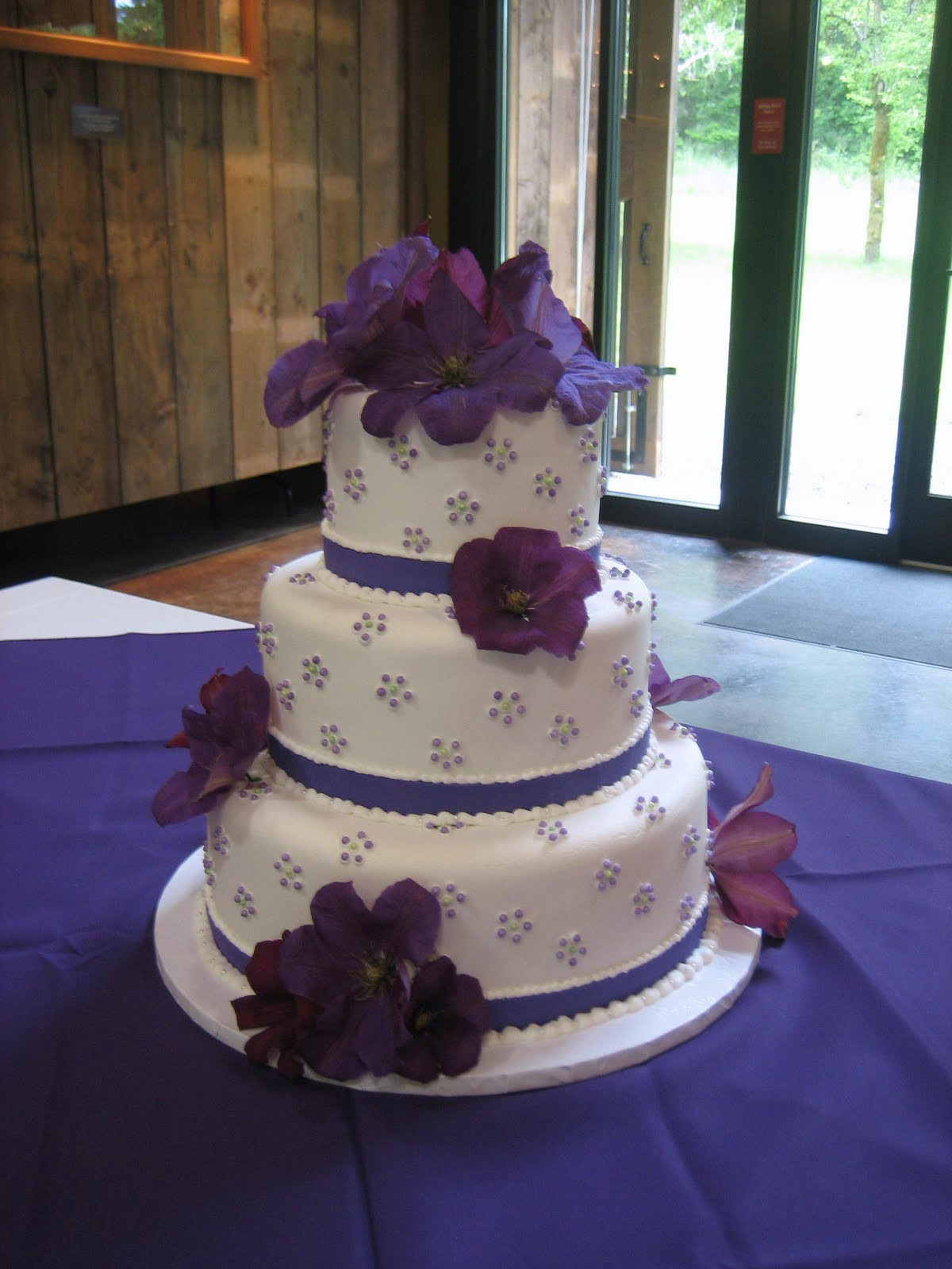 Purple Wedding Cakes Pictures  Jillicious Discoveries Three Purple Wedding Cakes