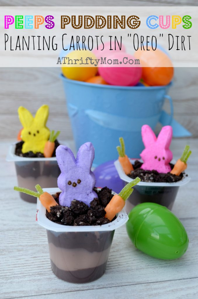 """Quick And Easy Easter Desserts  Peeps Pudding Cups Planting Carrots In """"OREO"""" Dirt"""