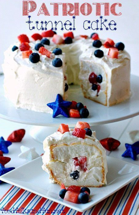 Quick And Easy Fourth Of July Desserts  Patriotic Tunnel Cake Recipe a quick & easy dessert