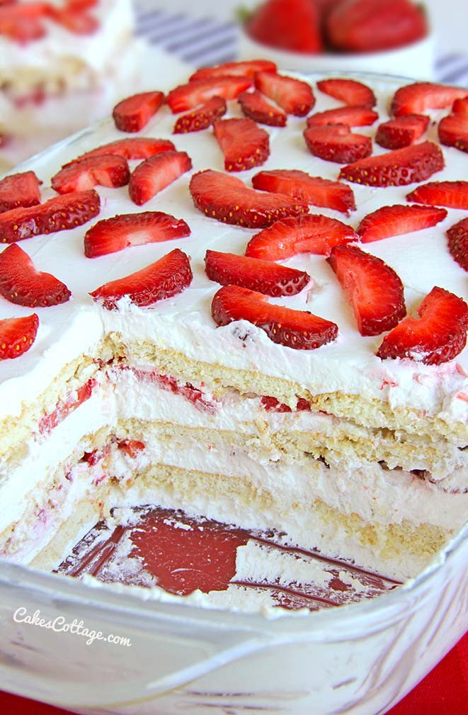 Quick And Easy Summer Desserts  No Bake Strawberry Icebox Cake Cakescottage