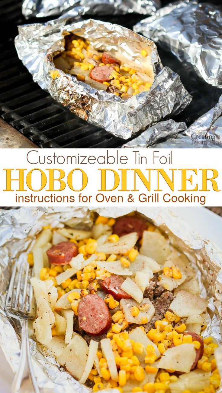 Quick Camping Dinners  Easy Hobo Dinner Tin Foil Dinner perfect for the whole