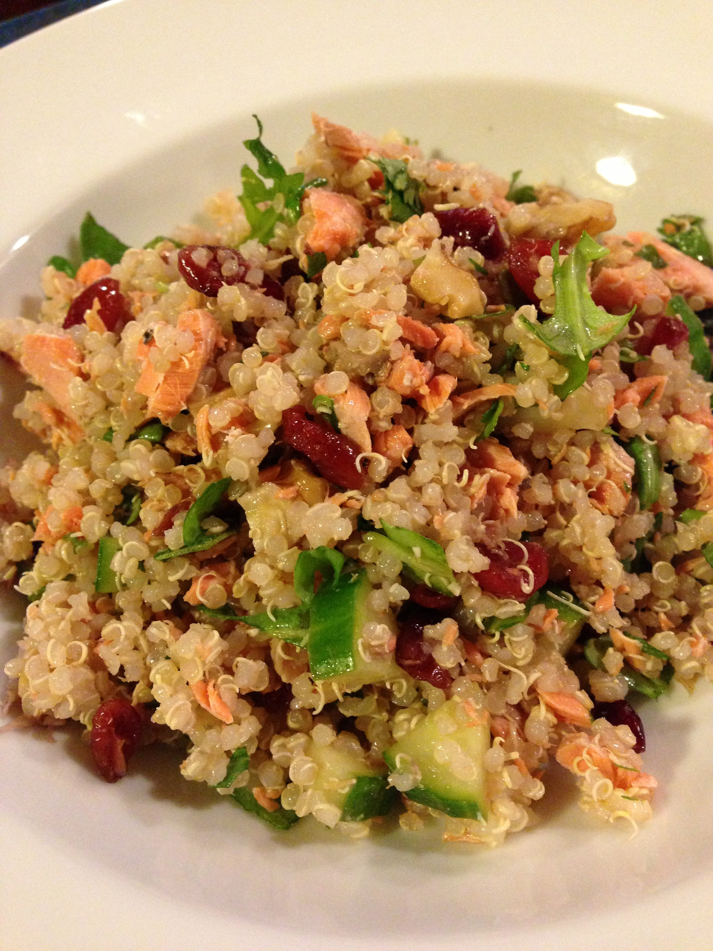 Quinoa Salad Healthy  Healthy Quinoa Salad with Salmon Cucumber Cranberries