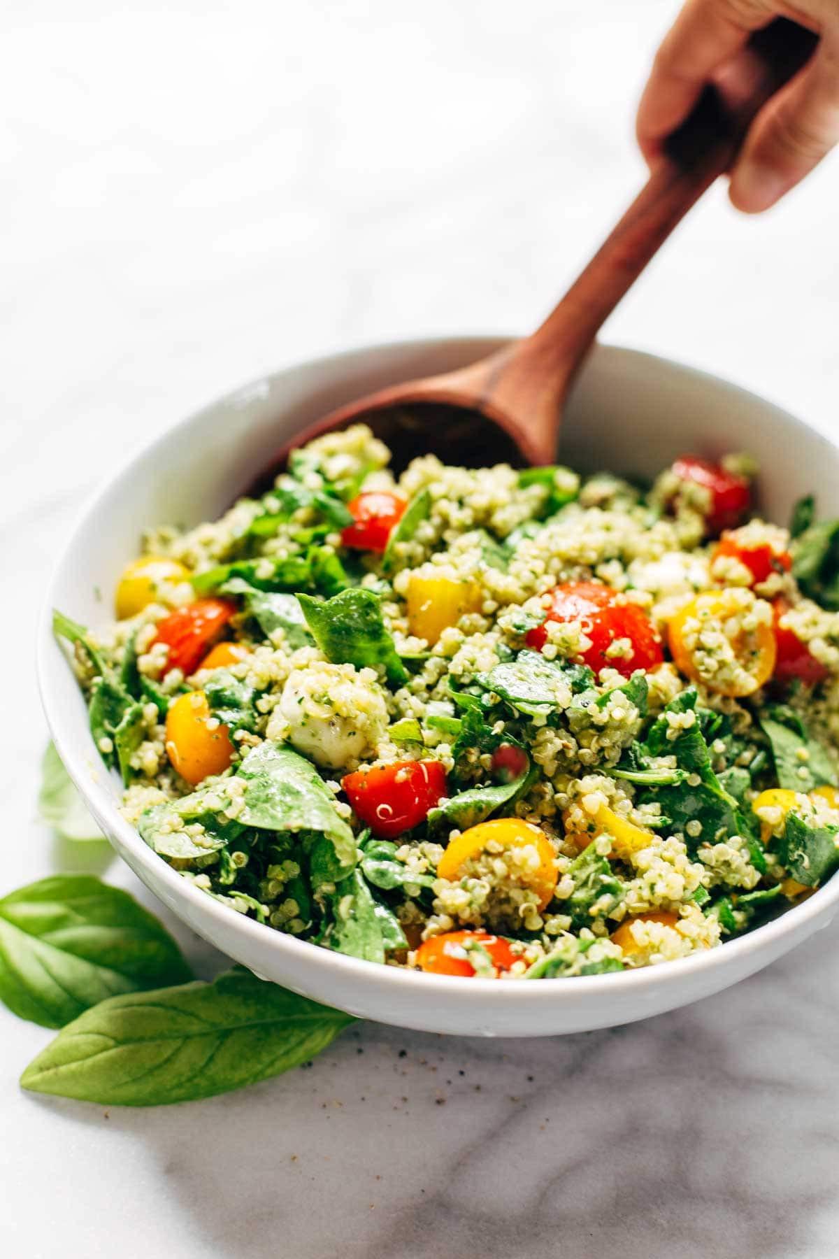 Quinoa Salad Recipes Healthy  Green Goddess Quinoa Summer Salad Recipe Pinch of Yum