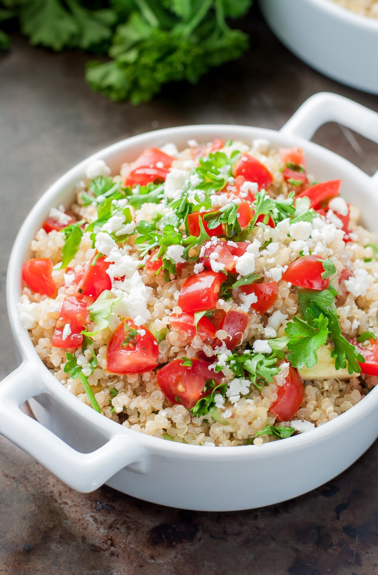 Quinoa Salad Recipes Healthy  Healthy Tomato Avocado Quinoa Salad with Feta