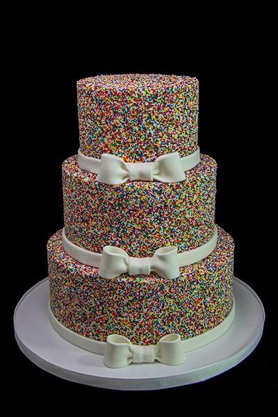 Rainbow Wedding Cakes  Rainbow Sprinkle Wedding Cake Butterfly Bake Shop in New