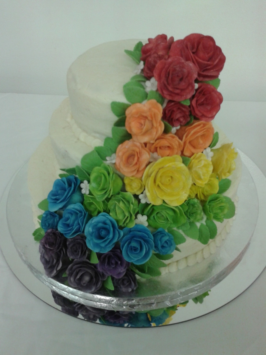 Rainbow Wedding Cakes  Rainbow Rose Wedding Cake CakeCentral