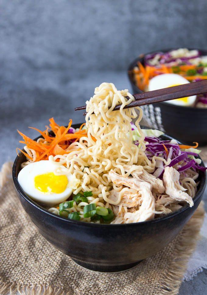 Raman Noodles Healthy  Healthy Chicken Ramen Bowl clean eating Simple Healthy