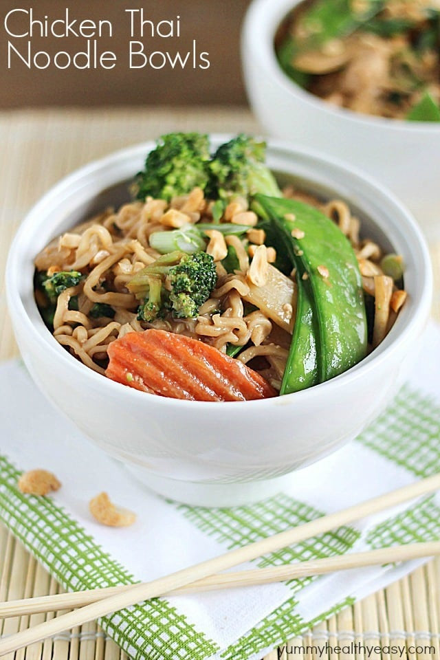Raman Noodles Healthy  Chicken Thai Noodle Bowls Yummy Healthy Easy