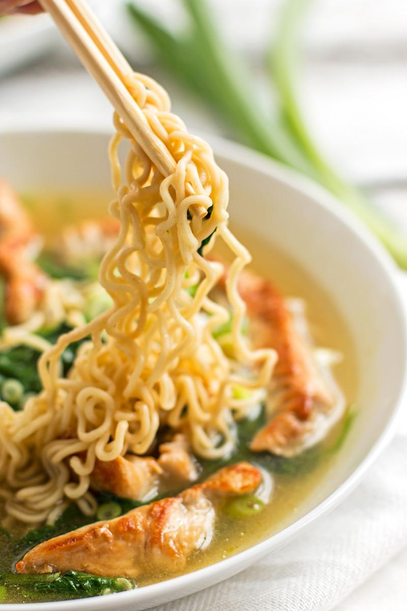 Raman Noodles Healthy  Healthy Turkey Ramen Bowls with Spinach