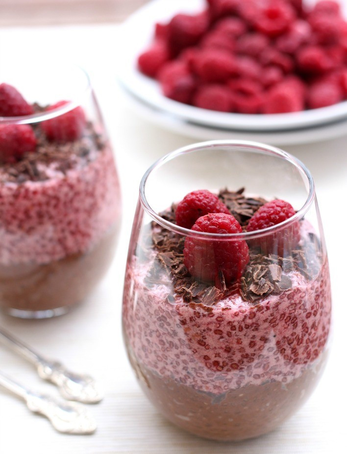 Raspberry Desserts Healthy  Chocolate and Raspberry Chia Pudding 4 Ways