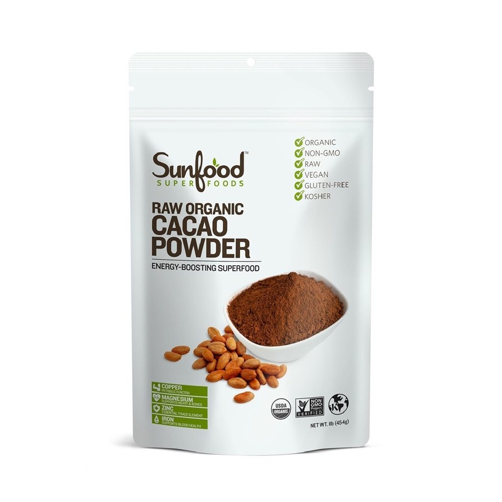Raw Organic Cocoa Powder  Upaya Naturals Chocolate Cacao Powder 16 oz bag raw
