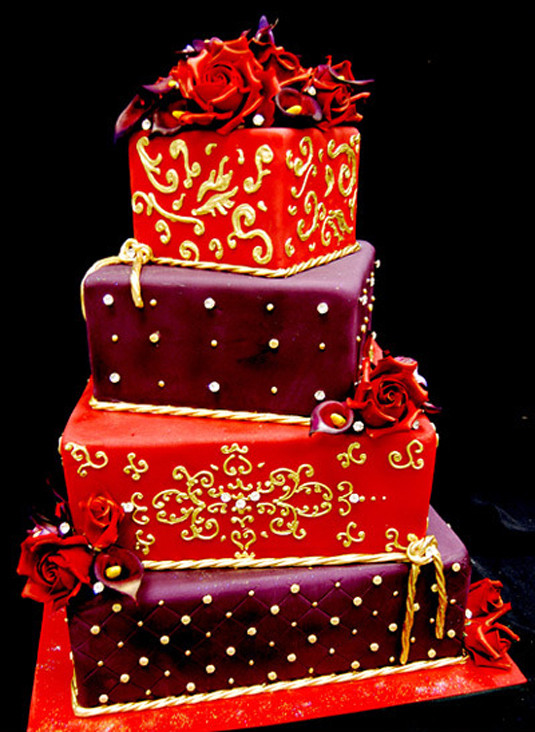 Red And Purple Wedding Cakes  Red and Purple Wedding Cake Wedding and Bridal Inspiration