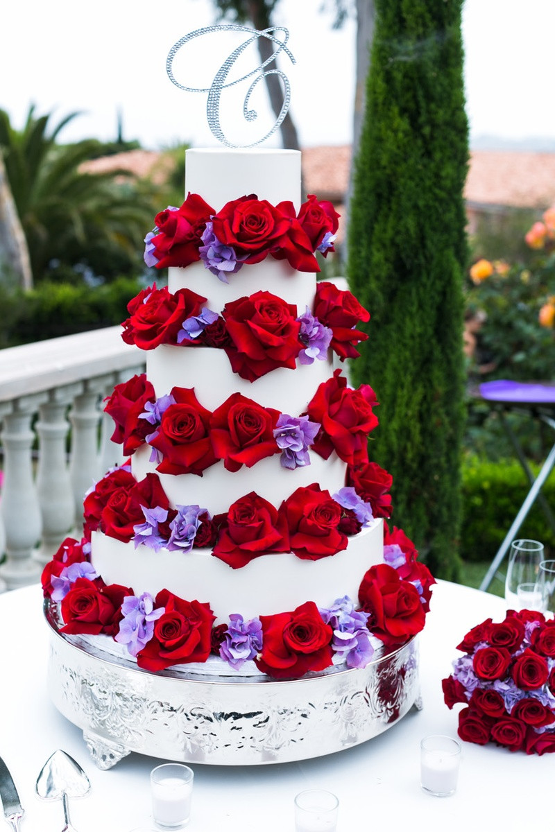 Red And Purple Wedding Cakes  Cakes & Desserts s Red Rose Cake Inside Weddings