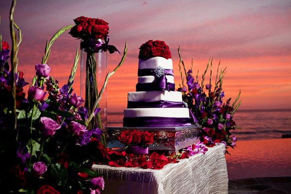 Red And Purple Wedding Cakes  Destination Wedding in Rosarito Mexico The Destination