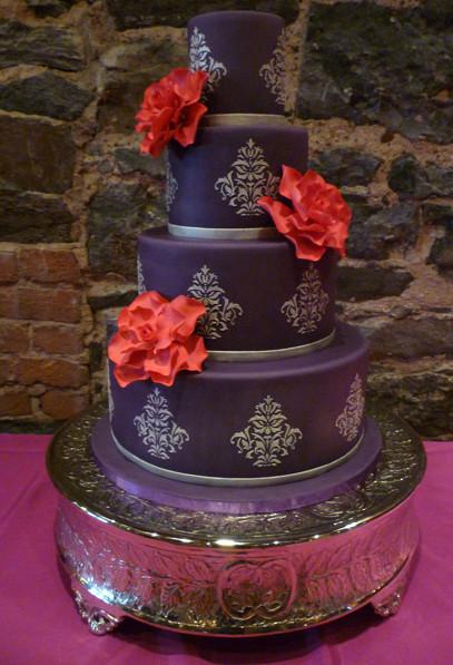 Red And Purple Wedding Cakes  Wedding Cakes Purple Damask Cakes