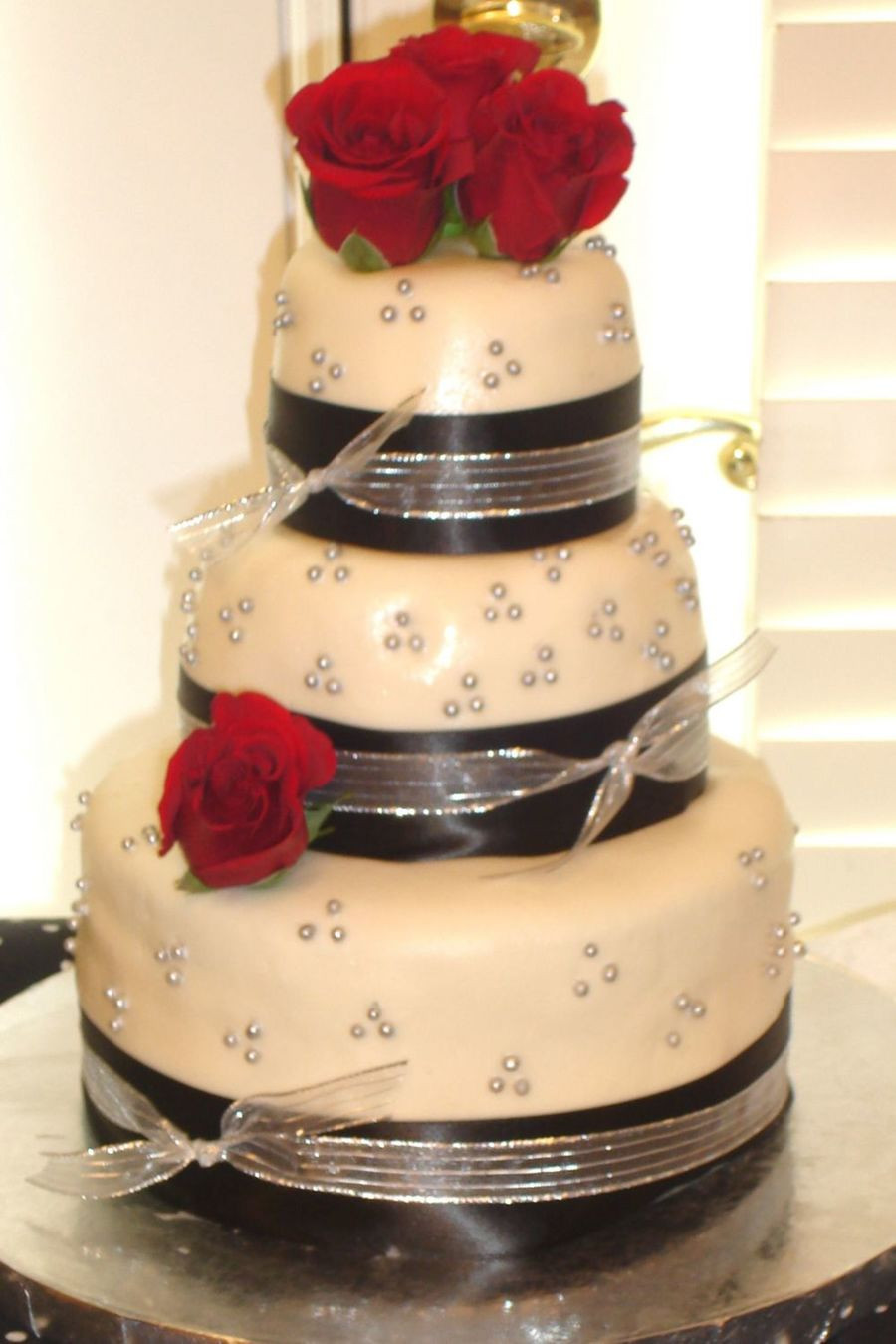 Red And Silver Wedding Cakes  Black Silver And Red Wedding Colors CakeCentral