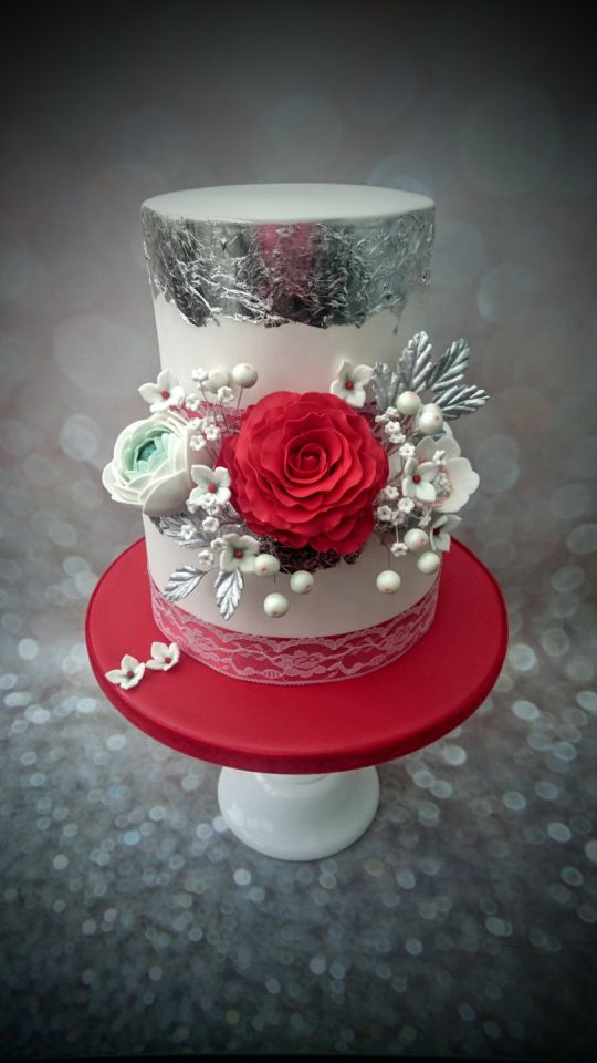 Red And Silver Wedding Cakes  Red & Silver Wedding Cake cake by Clairey s Cakery