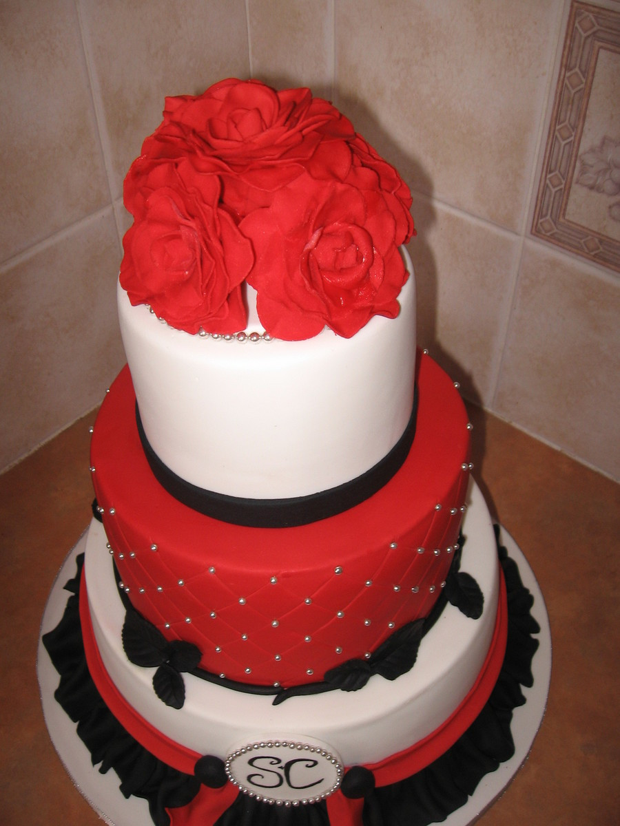 Red And Silver Wedding Cakes  Red Silver Black Wedding Cake CakeCentral