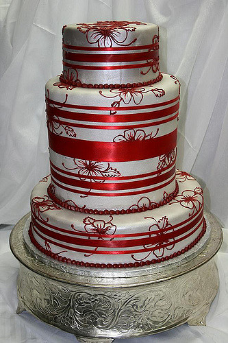Red And Silver Wedding Cakes  Silver and Red Wedding Cake