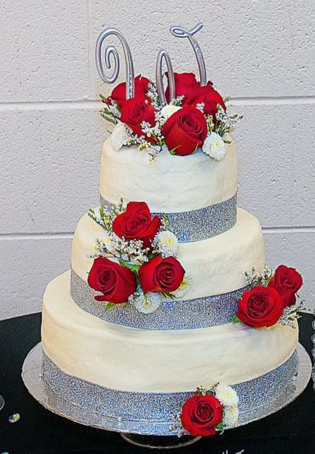 Red And Silver Wedding Cakes  3 tier white wedding cake with fresh red roses and silver