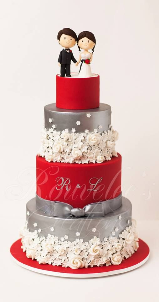 Red And Silver Wedding Cakes  Cake Topper Wedding CAKE Toppers Weddbook