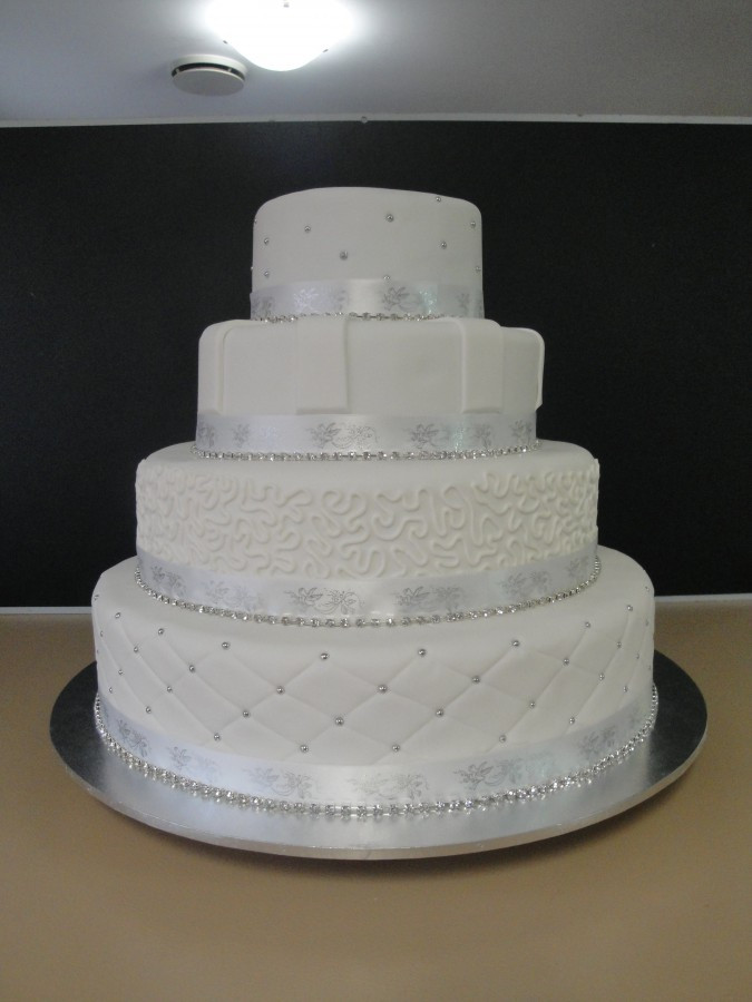 Red And Silver Wedding Cakes  Red White And Silver Wedding Cake CakeCentral