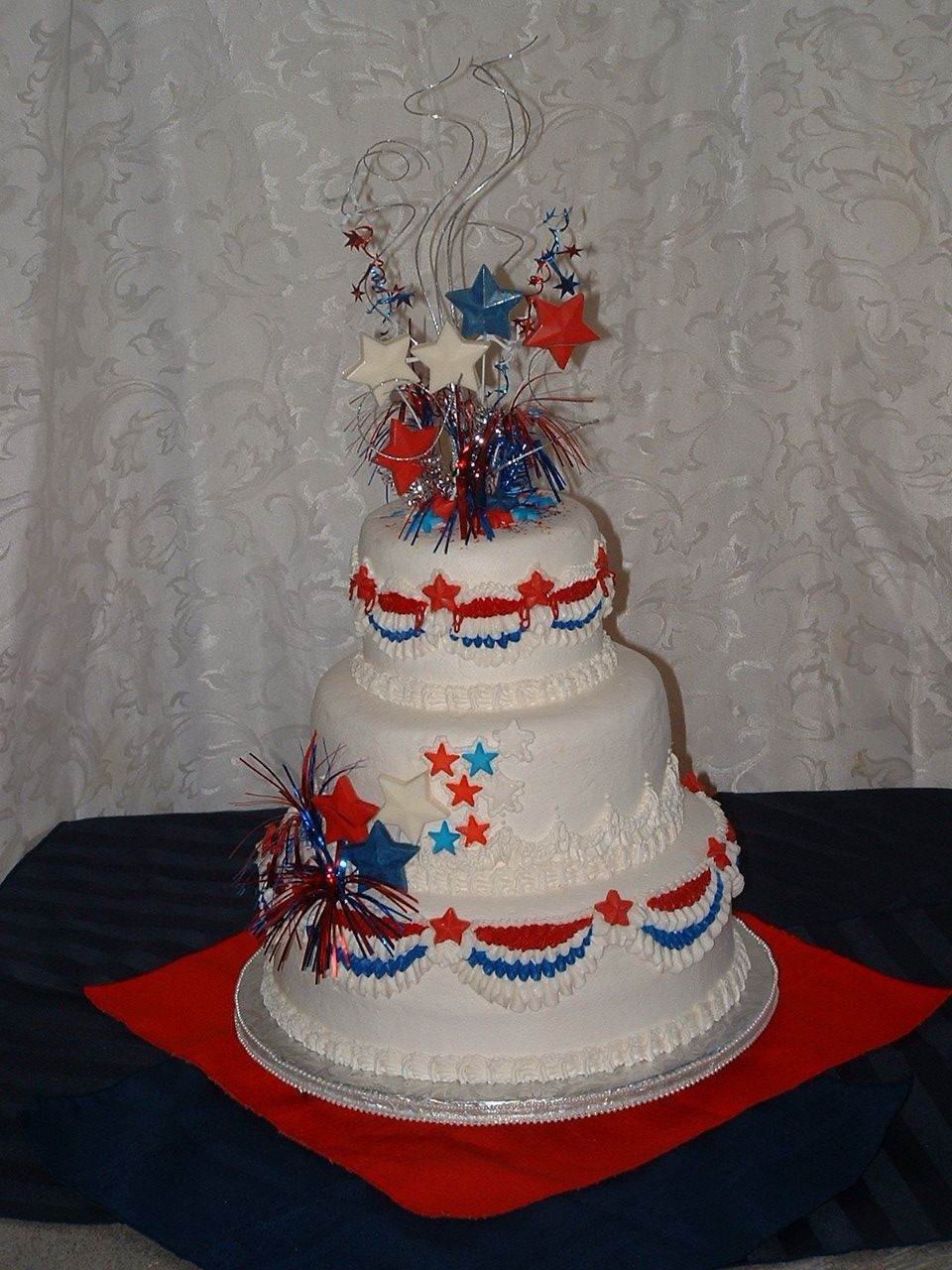 Red And Silver Wedding Cakes  Red Silver And White Wedding Cake CakeCentral