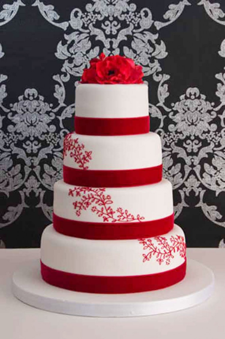 Red And White Wedding Cake  Romantic Red Wedding Cake Designs Wedding Cake Cake