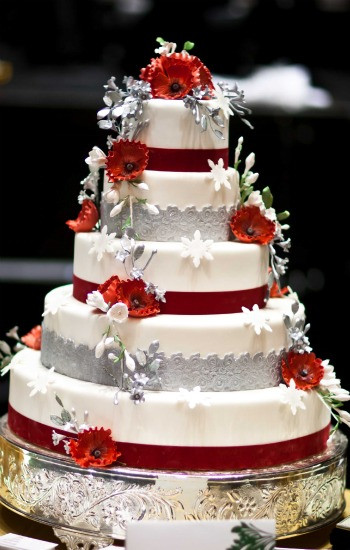 Red And White Wedding Cake  Wedding Cakes Red and Silver Wedding Cakes