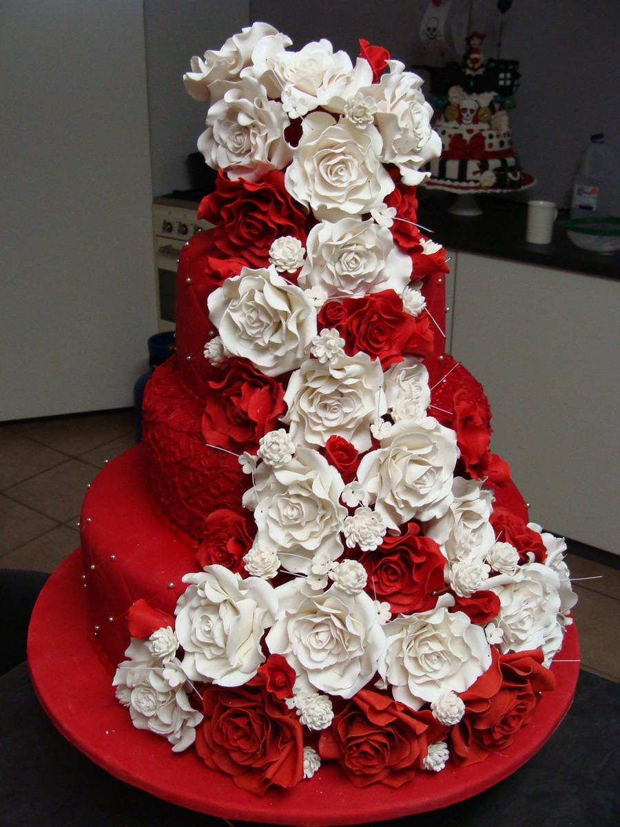Red And White Wedding Cakes With Roses  Red And White Rose Wedding Cake CakeCentral