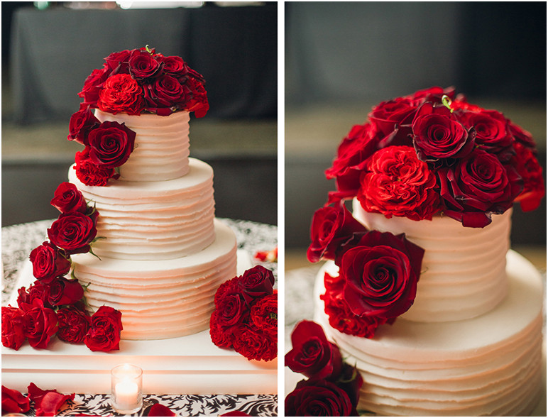 Red And White Wedding Cakes With Roses  Classic Fall Wedding Black and White with Crimson Red