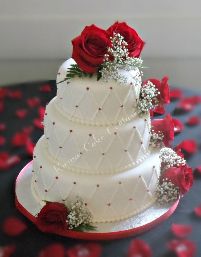 Red And White Wedding Cakes With Roses  white wedding cake with red roses