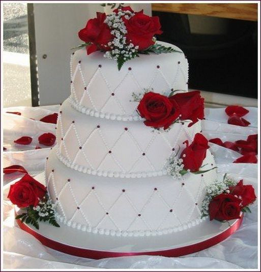 Red And White Wedding Cakes With Roses  red and white rose wedding cake ideas Google Search