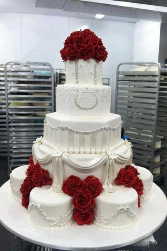 Red And White Wedding Cakes With Roses  White wedding cake red roses Wedding Ideas